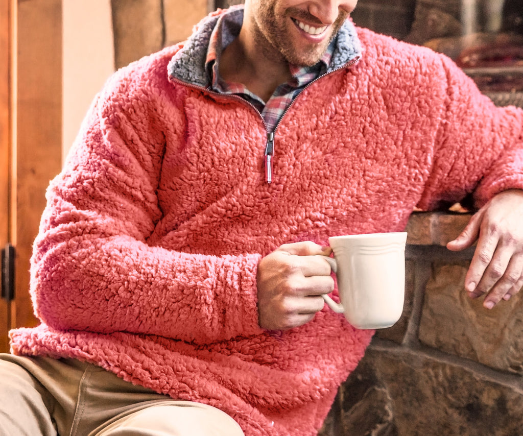 Appalachian Pile Sherpa Pullover - Burnt Red and Burnt Taupe