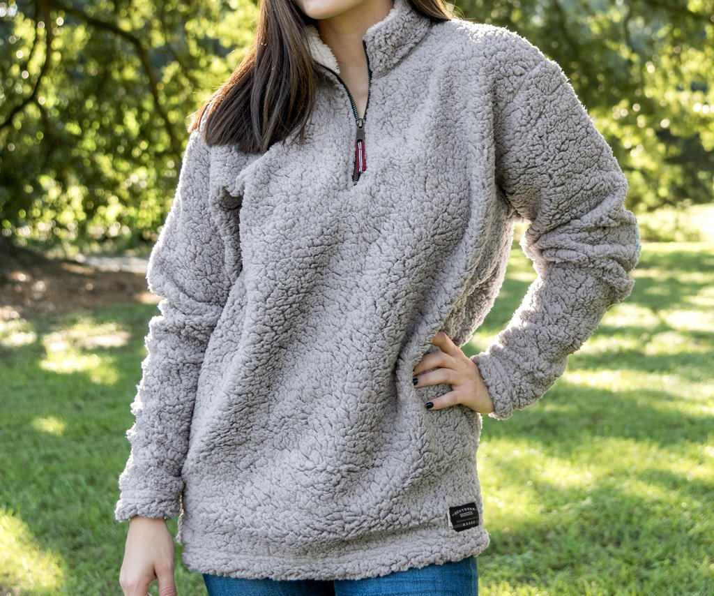 Appalachian Pile Sherpa Pullover - Light Gray and White