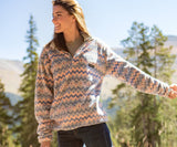 Gray and Peach | Tangier Ikat Fleece Pullover | Front