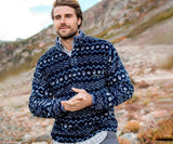 Navy  and Blue | Tangier Ikat Fleece Pullover | Front