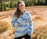 White  and Blue | Tangier Ikat Fleece Pullover | Front