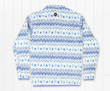 White  and Blue | Tangier Ikat Fleece Pullover | Back