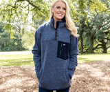 Washed Navy Heather | Lockhart Stretch Pullover | Front