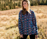 Slate and  Coral | Moab Stripe Fleece Pullover | Front