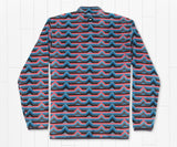Slate and  Coral | Moab Stripe Fleece Pullover | Back