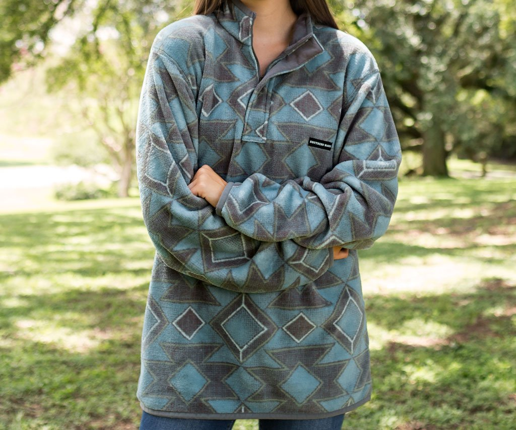 French  Blue and Midnight Gray | Pueblo Aztec Pullover