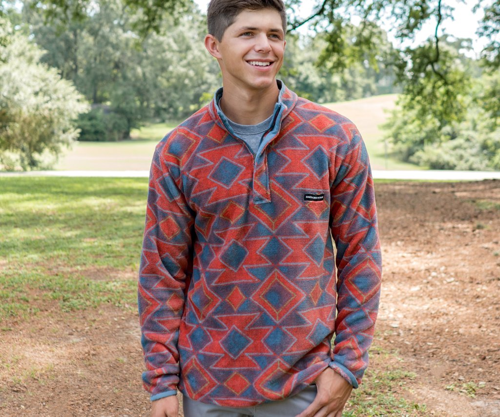 French Blue and Red | Pueblo Aztec Pullover