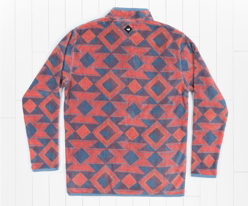 French Blue and Red | Pueblo Aztec Pullover | Back