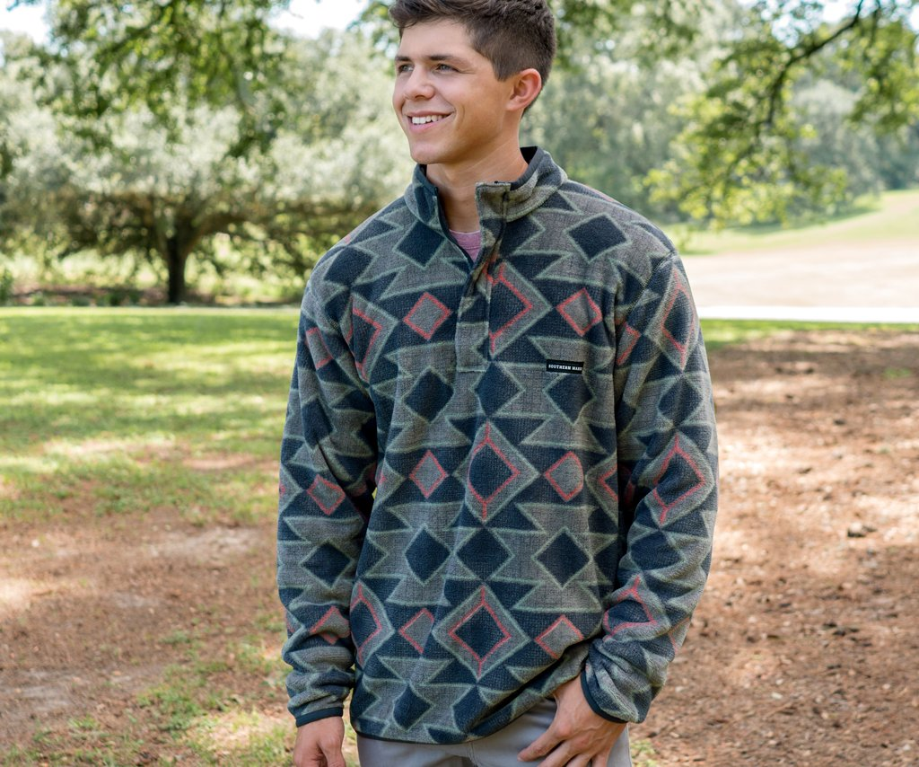 Navy   and Burnt Taupe | Pueblo Aztec Pullover