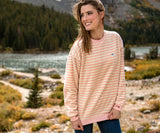 Tan and Pink | Sunday Morning Sweater | Cozy Stripe
