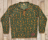 Dark Green and Neon Orange Woods | Woodlands Fleece Pullover | Front