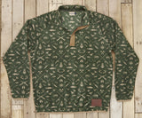 Dark Olive and Tan Woods | Woodlands Fleece Pullover | Front