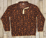 Stone Brown and Neon Orange Woods | Woodlands Fleece Pullover | Front