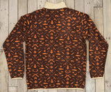 Stone Brown and Neon Orange Woods | Woodlands Fleece Pullover | Back