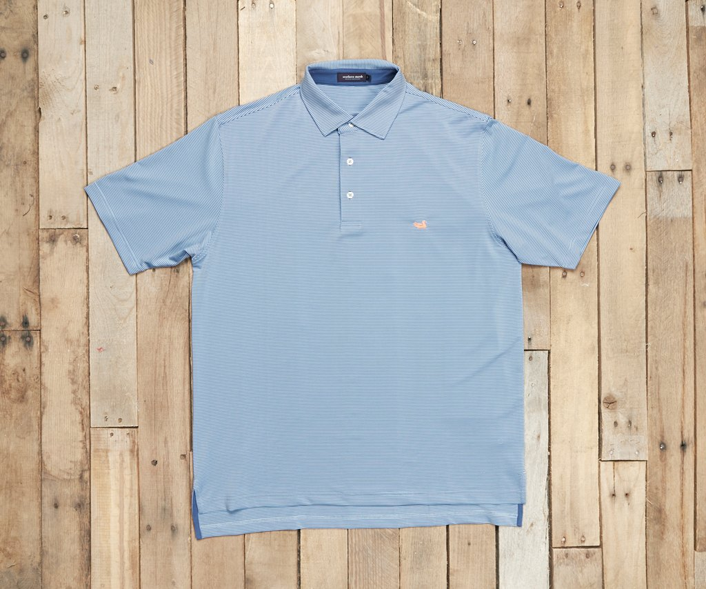 French Blue and Navy Stripe | Bermuda Performance Polo | Johnson