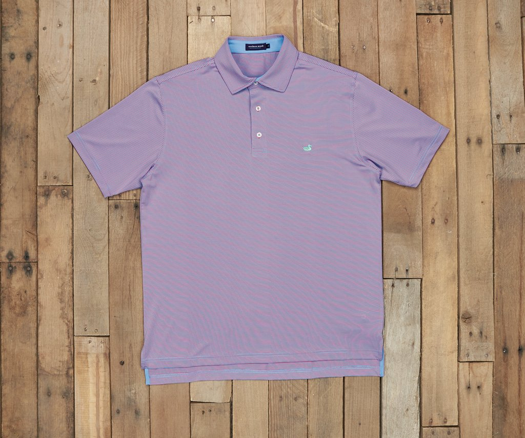 French Blue and Red Stripe | Bermuda Performance Polo | Johnson