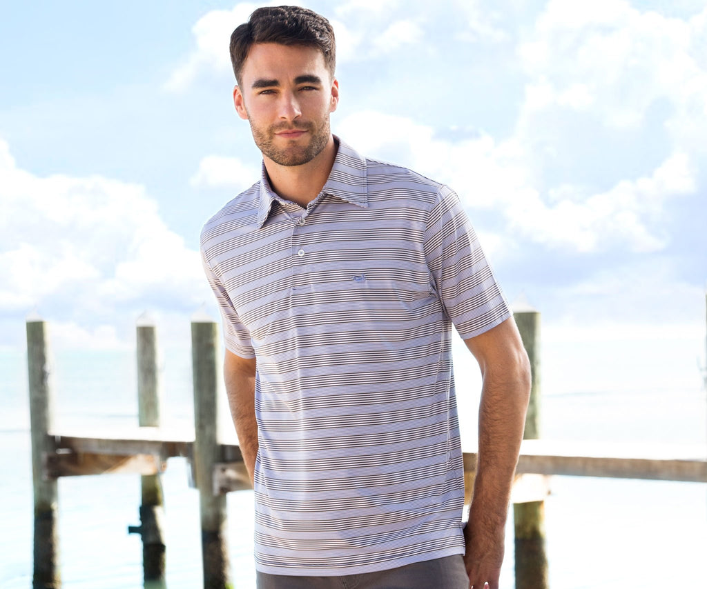 Midnight Gray and Lilac | Bermuda Performance Polo | Pensacola Stripe