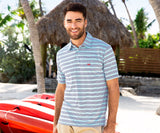 Mountain Purple and Teal | Bermuda Performance Polo | Pensacola Stripe
