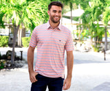 Washed Red and   Slate | Bermuda Performance Polo | Pensacola Stripe
