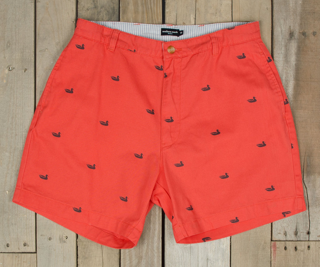 "Regatta Short with Printed Ducks - 6"" Flat"
