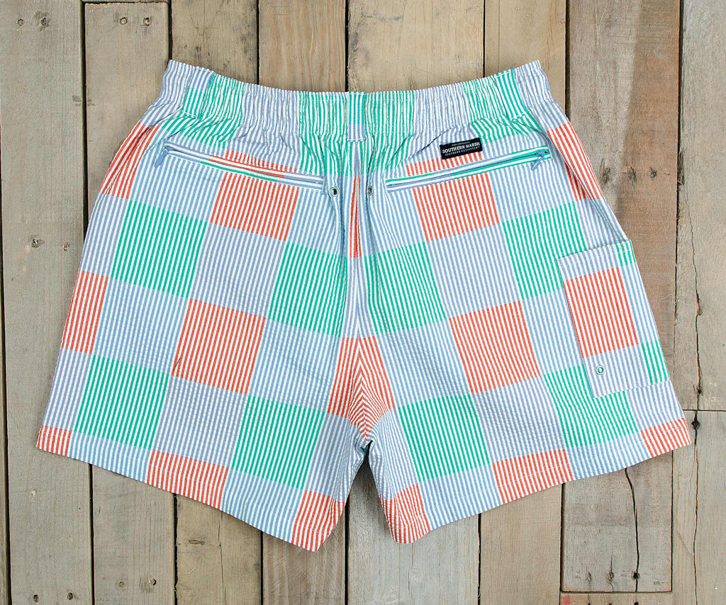 Dockside Swim Trunk - Seersucker Patchwork