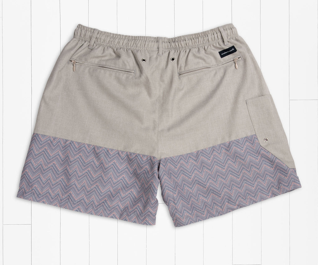 Burnt    Taupe | Dockside Swim Trunk | Maldives Chambray | Swim Shorts | Back