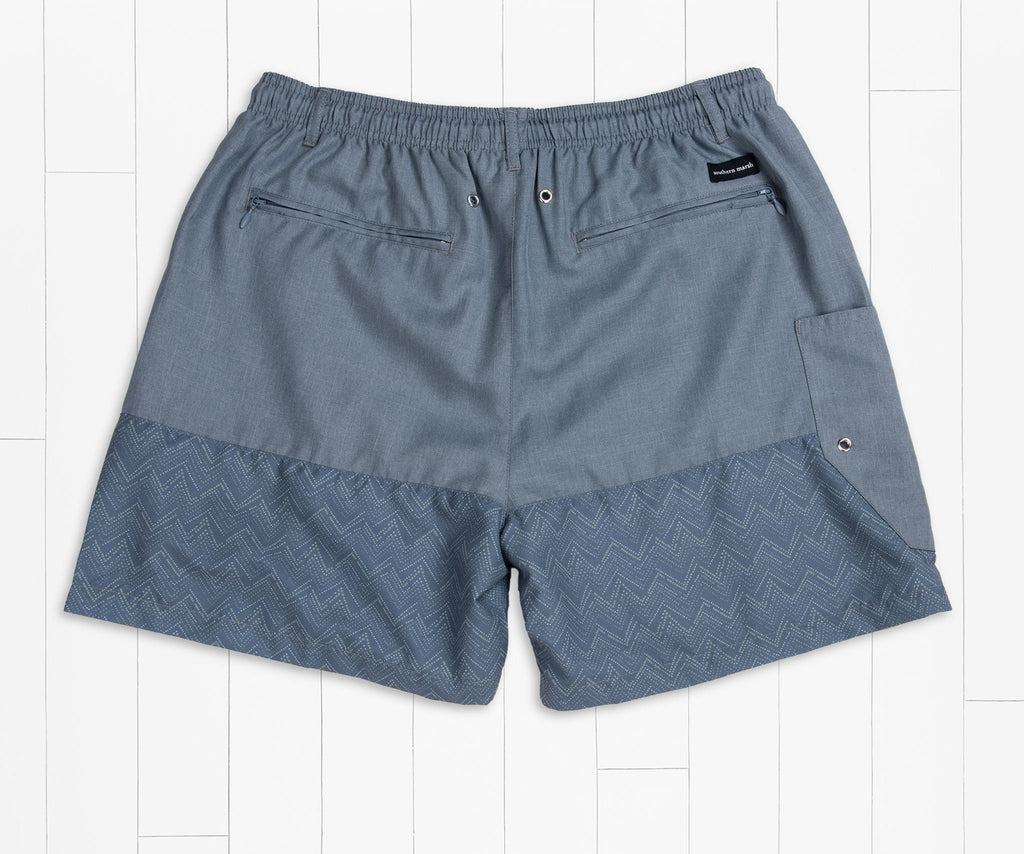 Navy | Dockside Swim Trunk | Maldives Chambray | Swim Shorts | Back