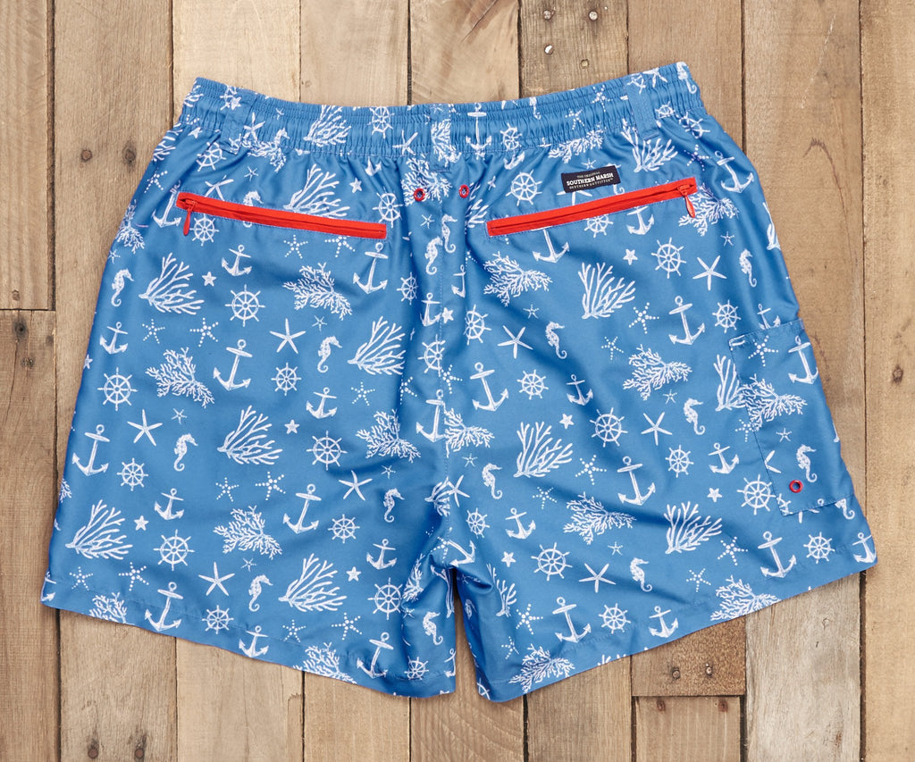 French Blue and White Anchor | Dockside Swim Trunk | Anchors | Swim Shorts
