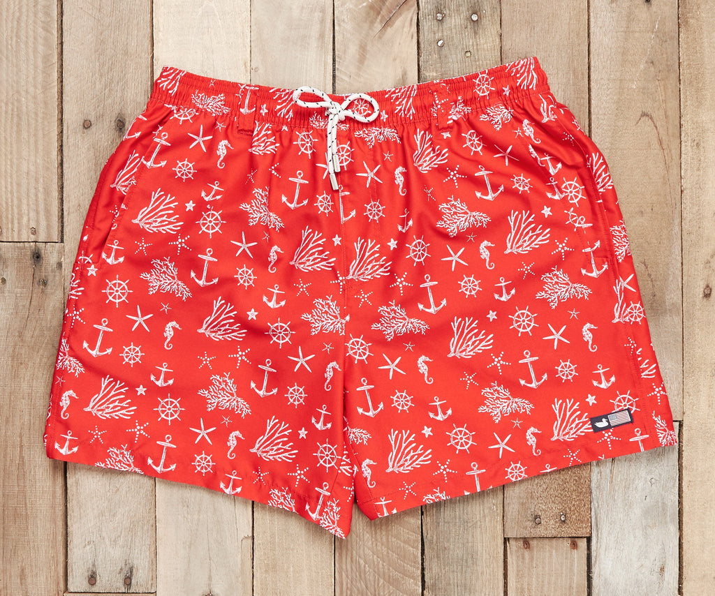 Red and White Anchor | Dockside Swim Trunk | Anchors | Swim Shorts | Preppy Style