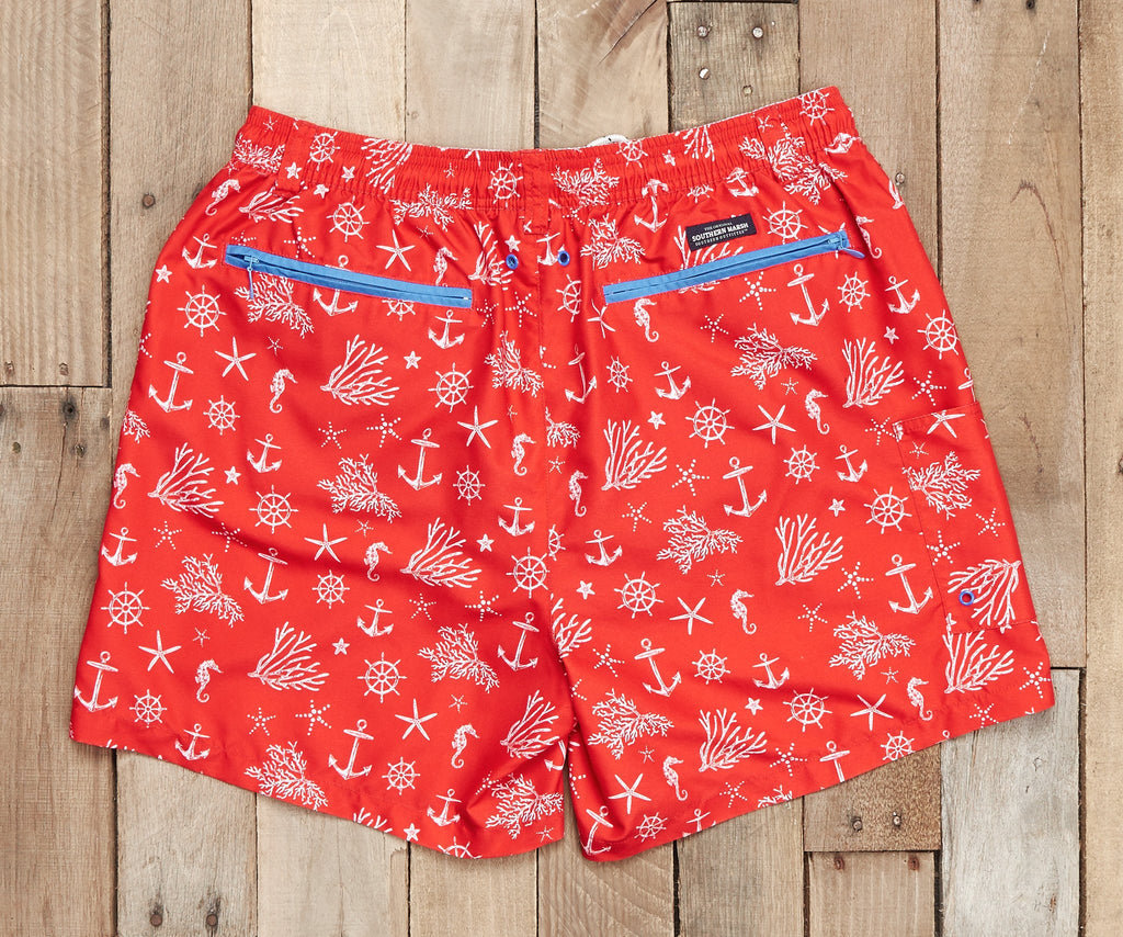 Red and White Anchor | Dockside Swim Trunk | Anchors | Swim Shorts | Patterned Swim Trunks