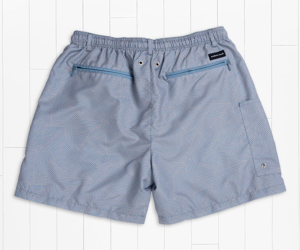 Blue and Tan | Dockside Swim Trunk | Tulum Angles | Swim Shorts | Back