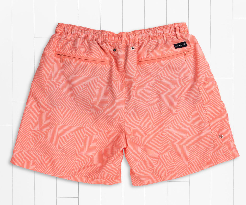Coral and Peach | Dockside Swim Trunk | Tulum Angles | Swim Shorts | Back