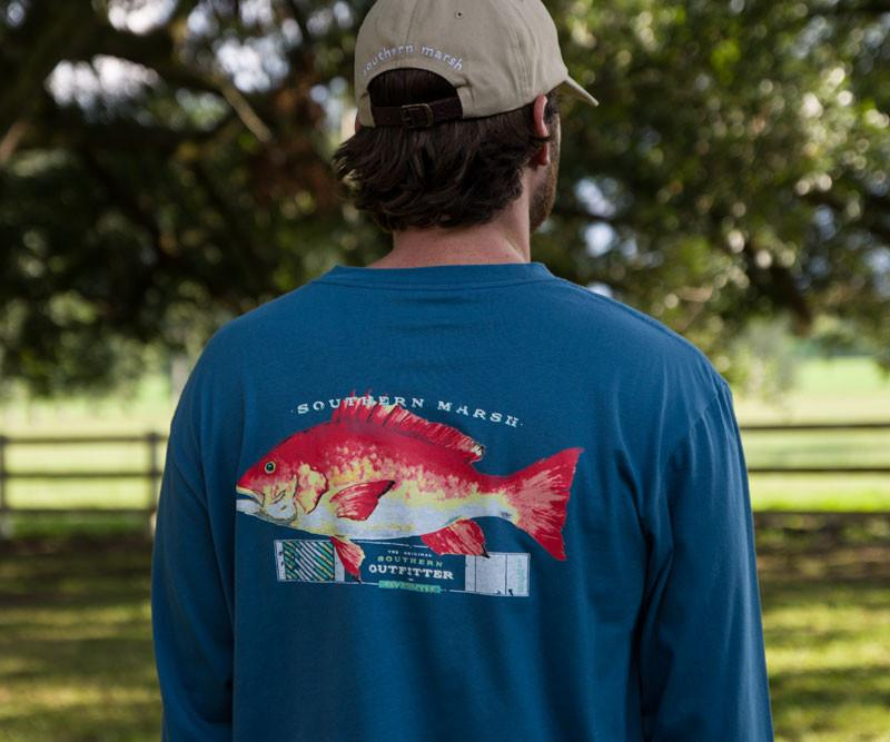 Outfitter Collection Tee - Snapper - Long Sleeve