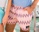 Peach   and Mint | SEAWASH™ Ikat Swim Trunks | Detail