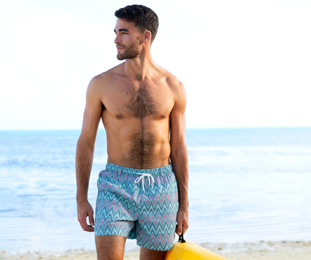 Slate     and Mint | SEAWASH™ Ikat Swim Trunks | Lifestyle | Front