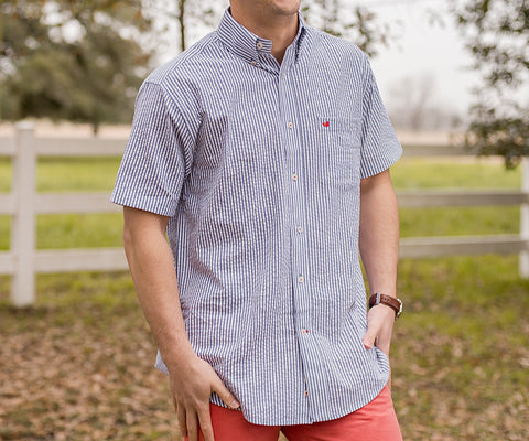 Everett Stripe Dress Shirt - Short Sleeve