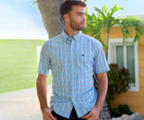 Blue      and Navy | Franklin Performance Gingham Dress Shirt | Short Sleeve | Lifestyle
