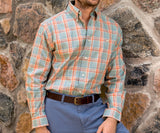 Burnt  Orange and Sage | Lexington Windowpane Dress Shirt | Long Sleeve Dress Shirt