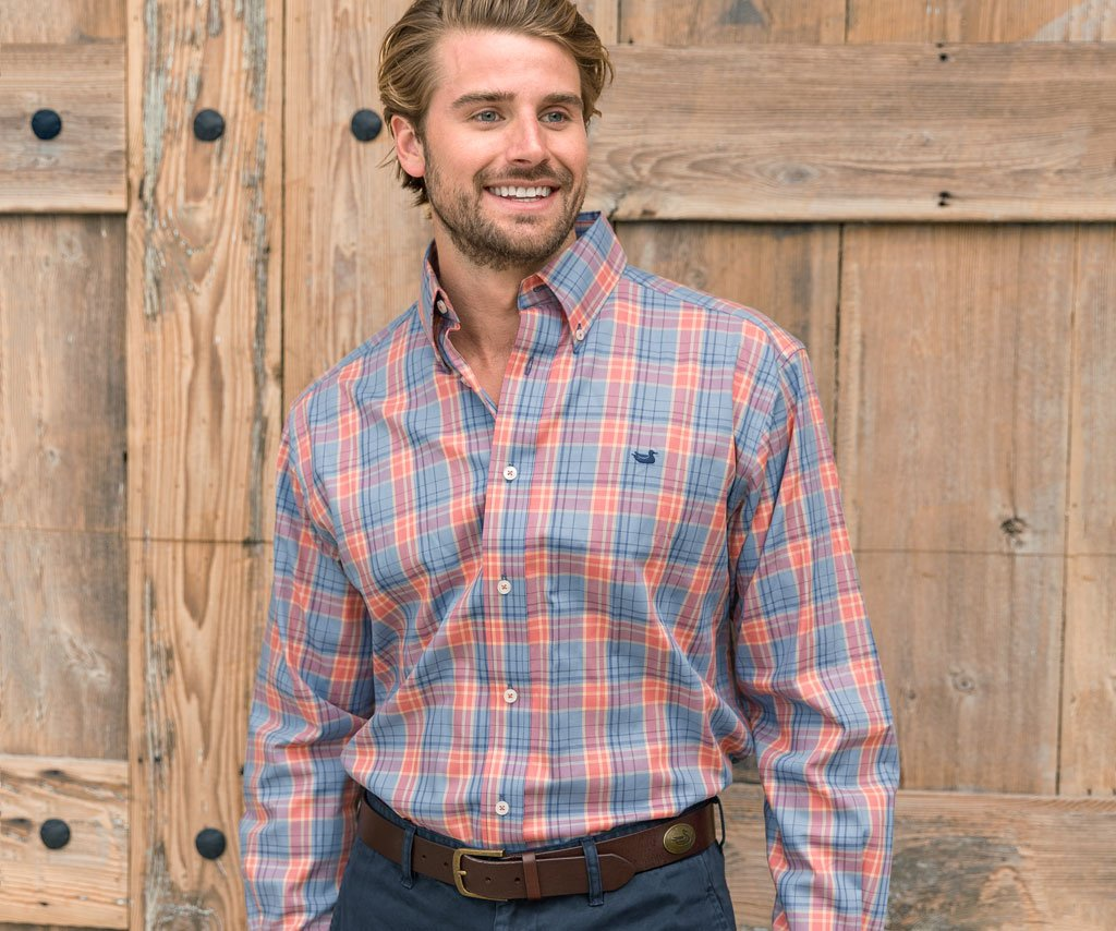 Slate and Navy | Lexington Windowpane Dress Shirt | Long Sleeve Dress Shirt