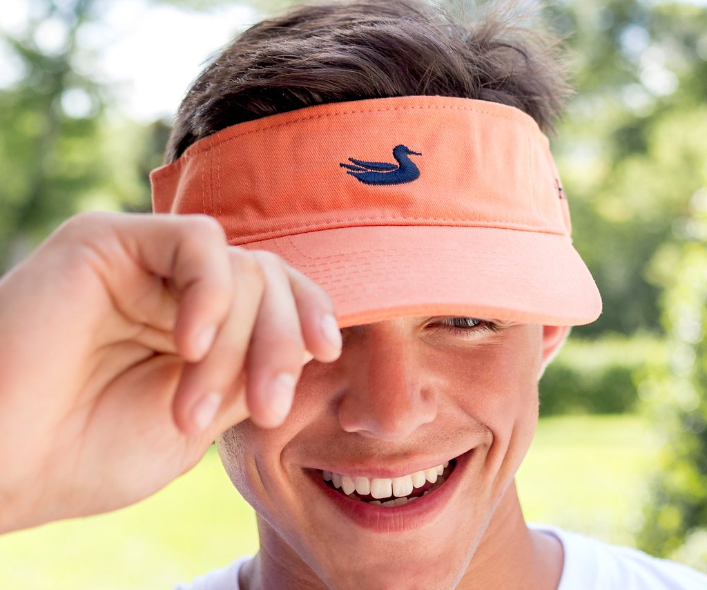 Tangerine Visor with Navy Duck
