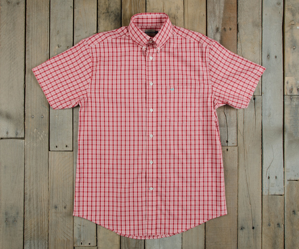 Chattooga Dress Shirt - Short Sleeve |  Washed Red and Mint Plaid