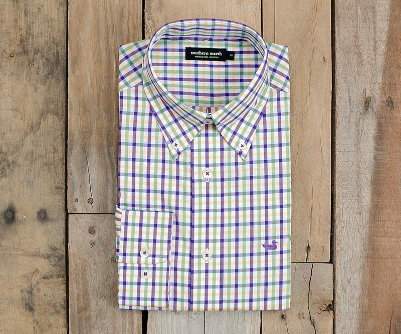 Purple Green and Gold | Evans Gingham Dress Shirt