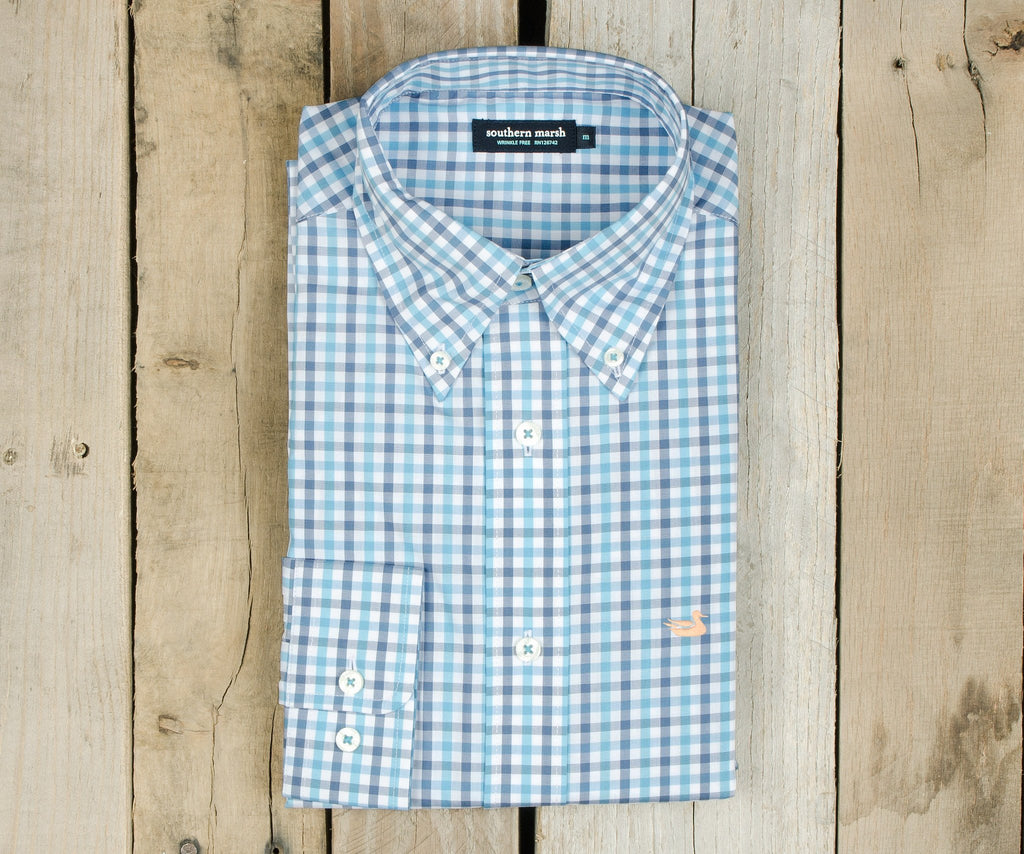 Evans Gingham Dress Shirt | Navy and Blue