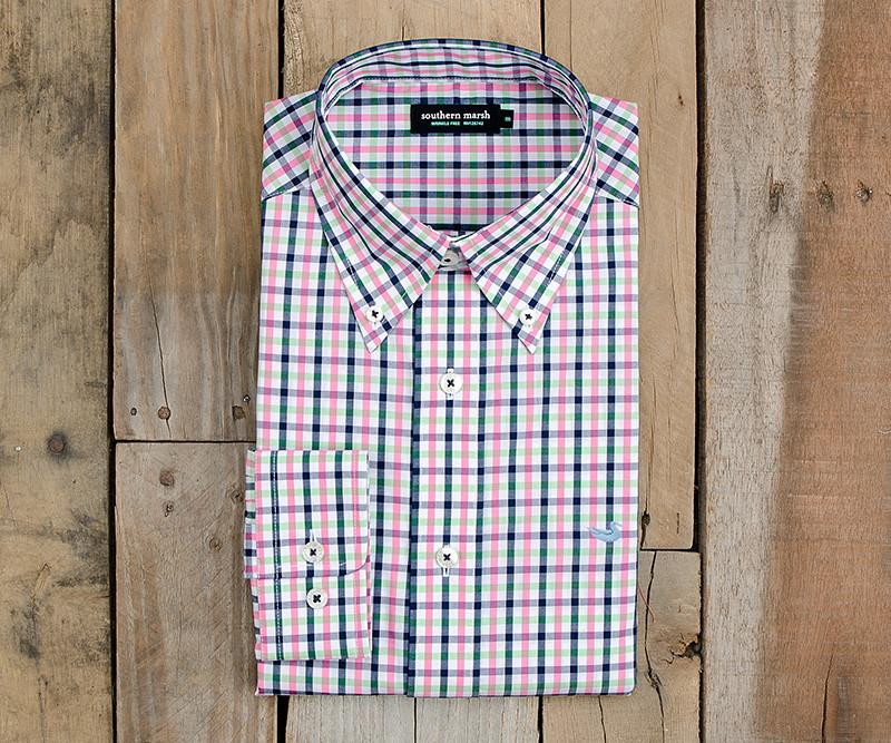 Evans Gingham Dress Shirt | Navy and Pink