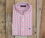 Evans Gingham Dress Shirt | Navy and Red