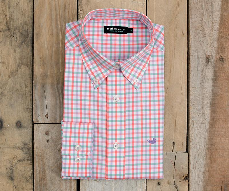 Evans Gingham Dress Shirt | Peach and Green