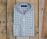 Evans Gingham Dress Shirt | Purple and Green