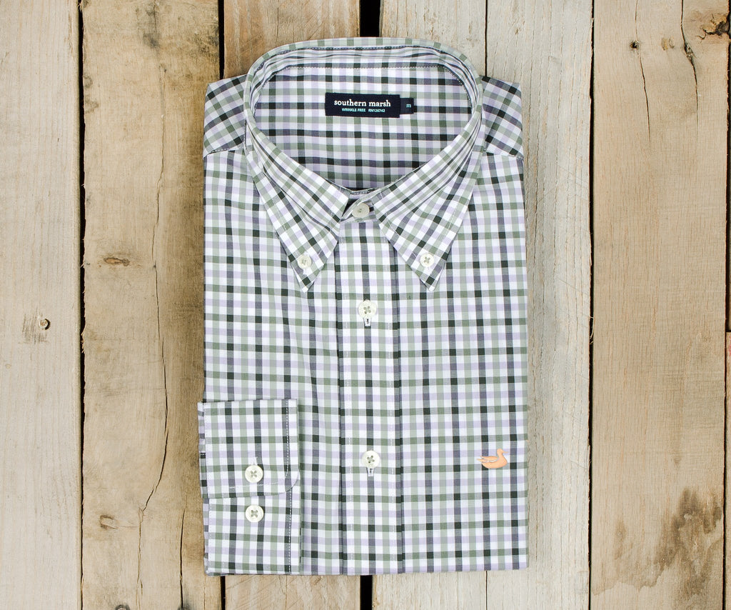 Evans Gingham Dress Shirt | Sage and Lavender
