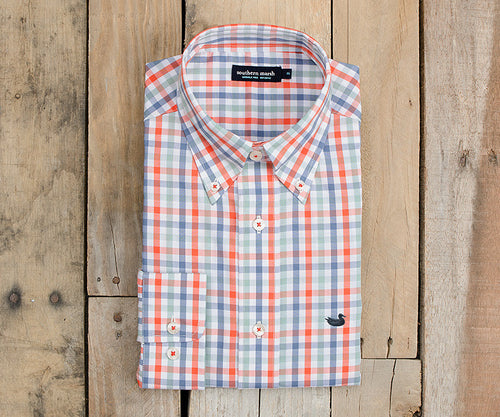 Southern Marsh Exchange Check Dress Shirt in Red and Black