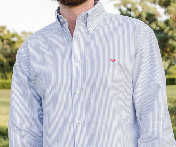 Southern marsh collection pintail oxford striped dress shirt for Oxford vs dress shirt